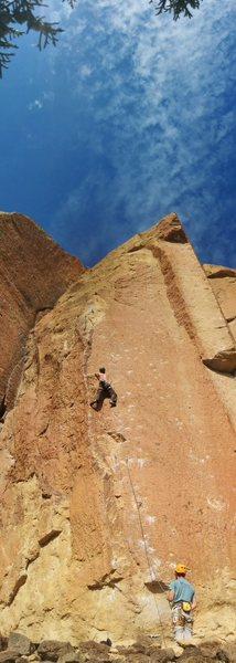 Rock Climbing Photo: Tim Climbing Wedding Day.  Josh on belay.