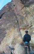 Rock Climbing Photo: Nora on Super Slab - Pitch 1.  Tim Belaying