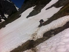 Rock Climbing Photo: With snow still crossing the trail several times a...