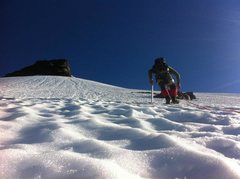 Rock Climbing Photo: Climbing up the glacier on the way to the summit a...