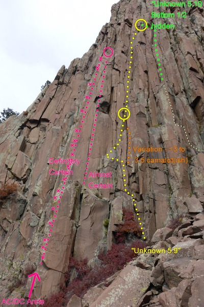 "This shows the route, especially the start. It is further downhill than the ""Unknown 5.10"", but they meet up at the same anchors. There are a few variations to the start."