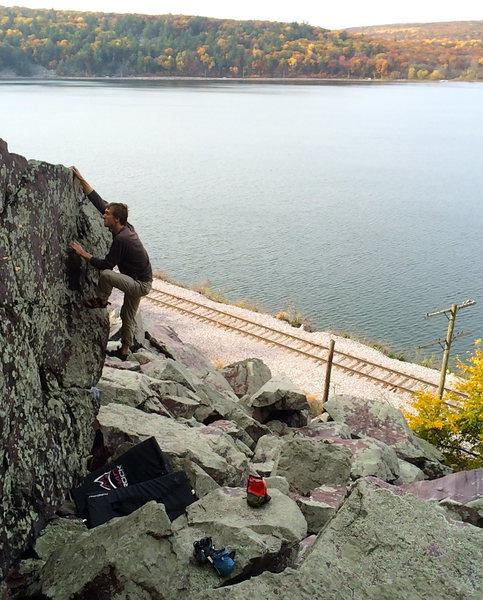 Aaron finishing up the climb