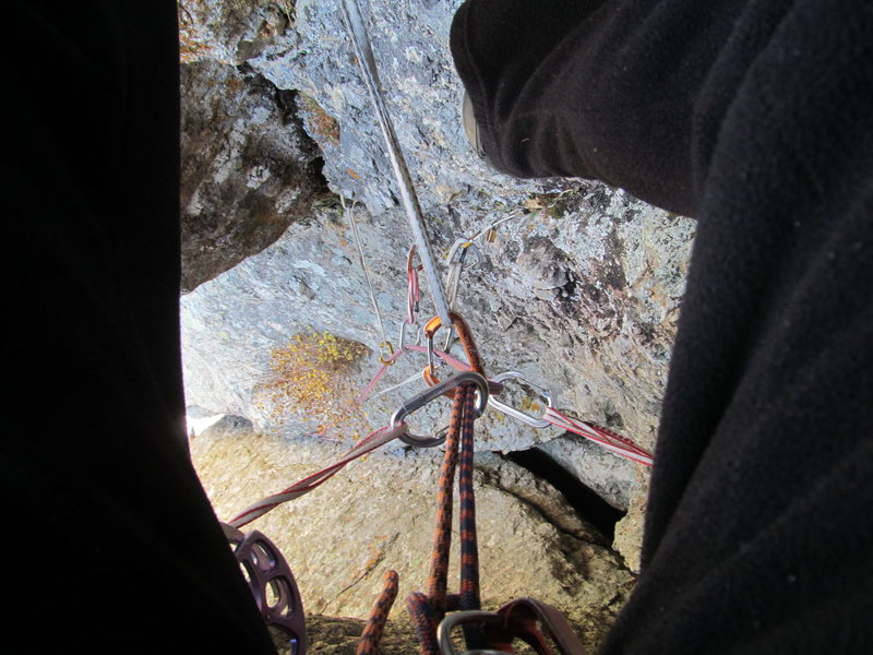 Small gear on the face going up through the second pitch chimney.