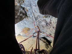 Rock Climbing Photo: Small gear on the face going up through the second...