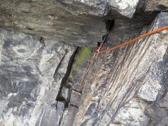 Rock Climbing Photo: Looking back at the crux from the optional belay.