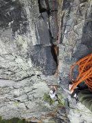 Rock Climbing Photo: Jon coming off the start of P2.