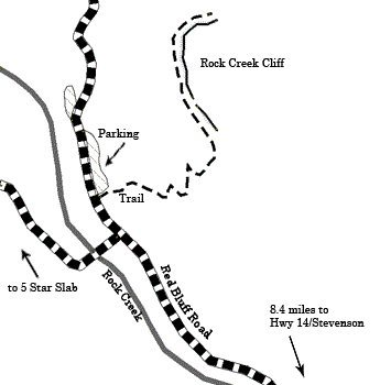 Map to Rock Creek cliff