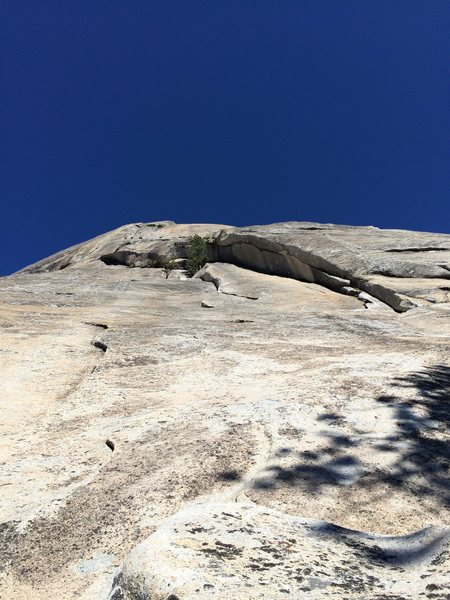 Rock Climbing Photo: Looking up at P1&2 from the base, climbing the sla...