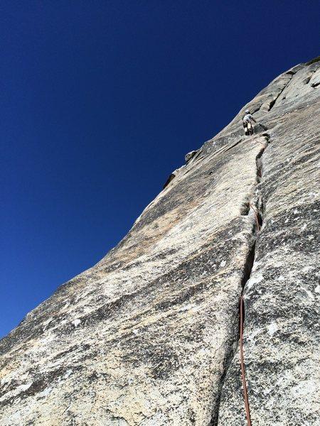 Rock Climbing Photo: Mark Collar leading P4 (per ST, our P3)