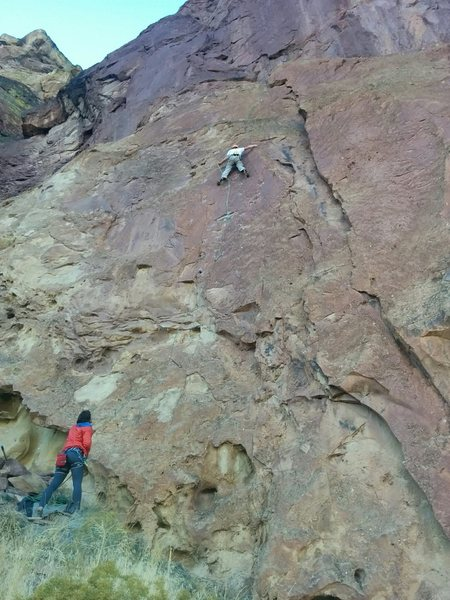 First pitch of Gulag Archipeligo.  <br> <br> Josh on Route.  Nora on Belay