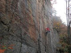 Rock Climbing Photo: Christian on Black Lung, 5.10d at Pinnacle Mountai...