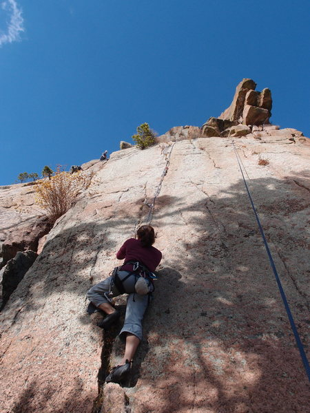 Rock Climbing Photo: Laura taking out the first piece at the start of '...