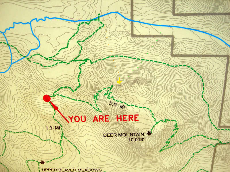 This is the map at the Deer Mountain junction trailhead.  The yellow arrow indicates the crag.  The orange dots indicate the approximate Aspen Glen Campground approach.  The green dots indicate the Fish Hatchery Road approach.