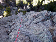 Rock Climbing Photo: This shows Deb (red helmet) at the start the climb...