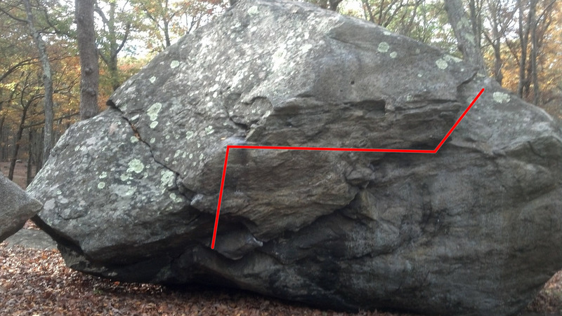 Rock Climbing Photo: Slightly over hung side of the shin buster