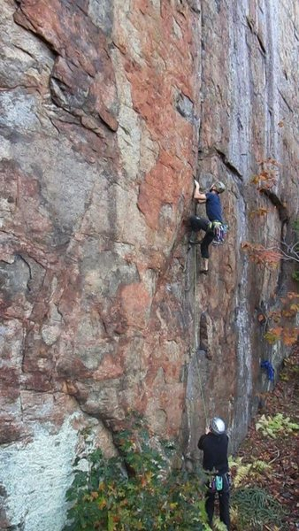 On the main wall is this beautiful overhanging crack on an orange face, Release the Kraken.