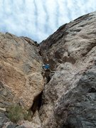 Rock Climbing Photo: Joe leading the 5.9+ slot pitch....