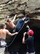 Rock Climbing Photo: chow time. clipping with feet?
