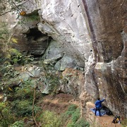 Rock Climbing Photo: nice shot of what the wall is like after a rainy n...