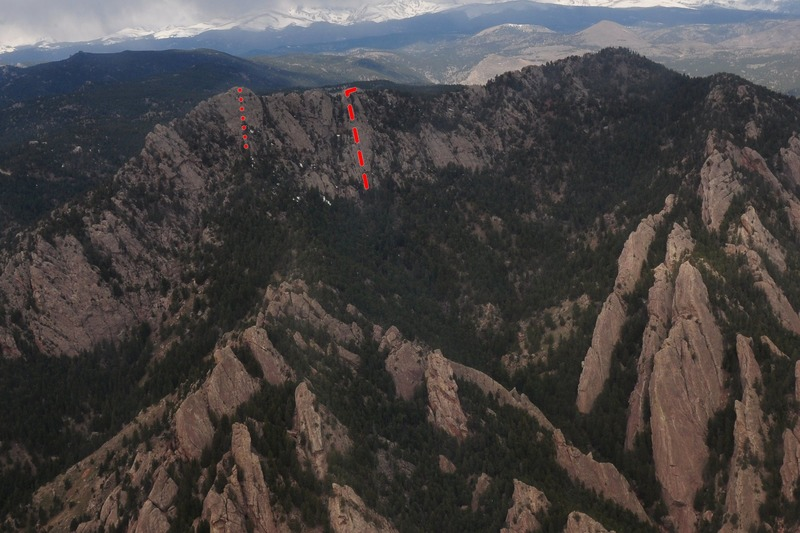 A birds-eye vies of the S. Summit of Green Mt.  Visible here are the Standard E Face Route (left, as published) and the 2014 route described on the 3rd tower (right, as climbed).