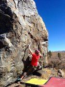 Rock Climbing Photo: Mid crux on Aspen Wall, V7