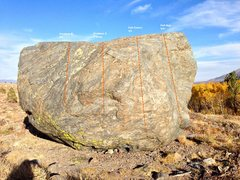 Rock Climbing Photo: Aspen Boulder South West Face Topo