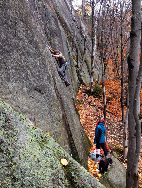 Fairly delicate climbing to the high first bolt<br> <br> photo: Ashley Guilbeault