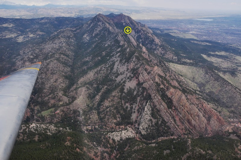 The size and position of the Lost and Found Flatiron are shown well in this aerial photo.  Compare it to the Matron (which it dwarfs) or Redgarden Wall, in the low foreground.