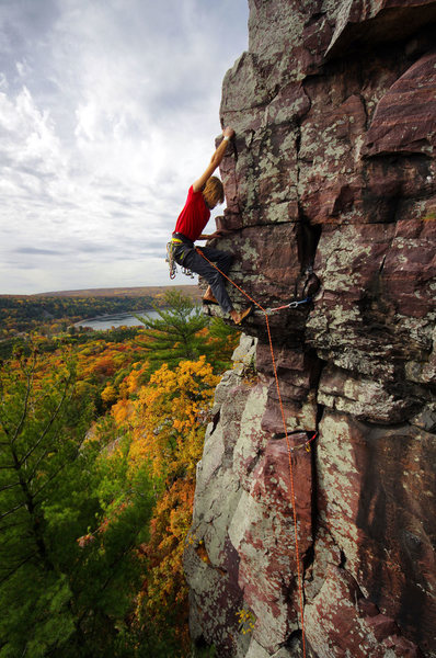 October colors and Bucket Brigade. Climber: Darin Limvere.
