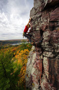 Rock Climbing Photo: October colors and Bucket Brigade. Climber: Darin ...