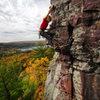 October colors and Bucket Brigade. Climber: Darin Limvere.