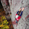 October climbing at Devils Lake. Mike Ridenhour on Charybdis.