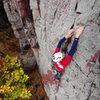 October climbing at Devils Lake. Mike Ridenhour on Charybdis.