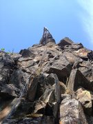 Rock Climbing Photo: Leo at the anchors of The Shuttler