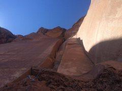 Climbing the beautiful crack.