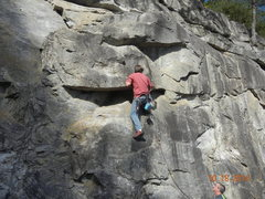 Rock Climbing Photo: Standing on the micro-ledge and clipping the secon...