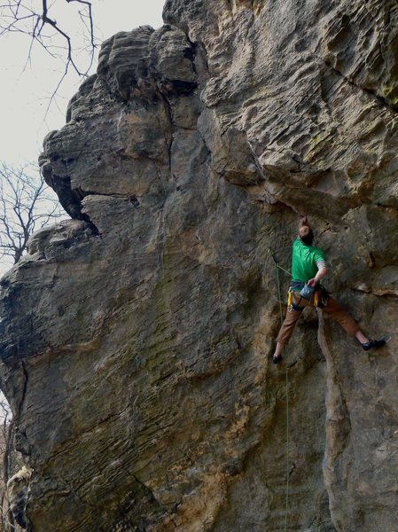 Rock Climbing Photo: Onsight of A Red Recollection - photo by Paul Camp...