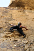 Rock Climbing Photo: On the face having clipped the 1st bolt.