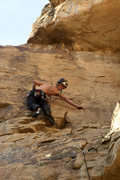 Rock Climbing Photo: Getting in position to clip the 2nd bolt. In my op...