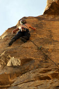 Rock Climbing Photo: Past the 2nd bolt on the fun and juggy upper face.