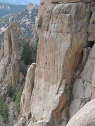 Rock Climbing Photo: The upper pitches of the Poe as seen from the Bloc...
