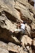 Rock Climbing Photo: Mike Santoro leading up the slightly overhanging s...