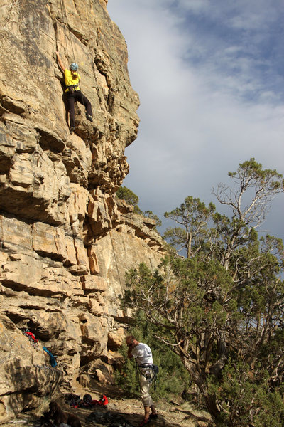Rock Climbing Photo: Mike Santoro belaying Kristine Chalk up Jugular Ve...