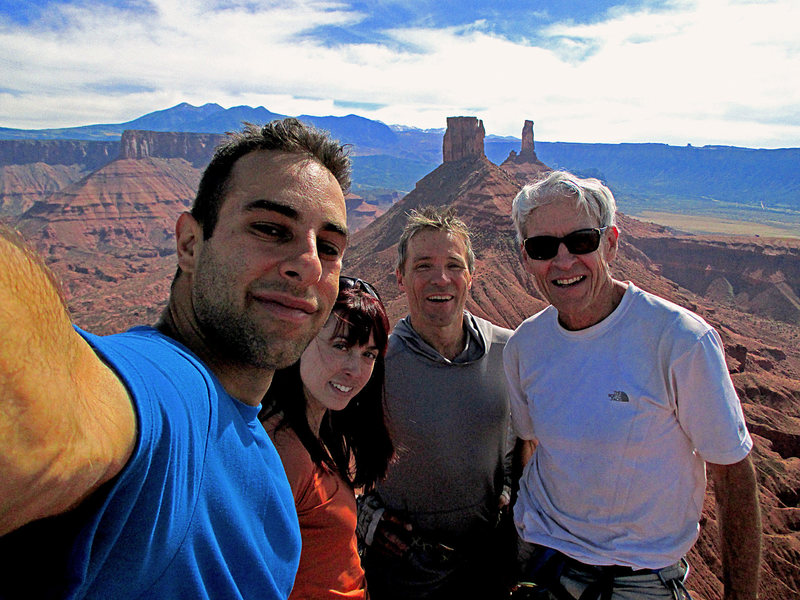 On the summit of Jah Man with Dr. George Lowe, his partner Rick, and my partner Johnny<br> <br> October 2014