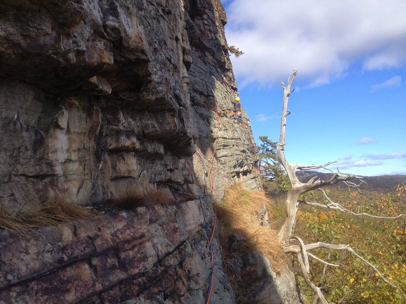 Rock Climbing Photo: Victor leading the P2 traverse of OT