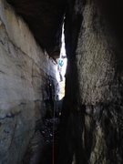 Rock Climbing Photo: Starting into the tunnel on P4. Belay is at the ot...