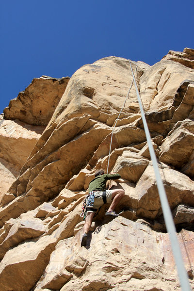 J. Weingast on the overhanging start -before the bolts were installed.