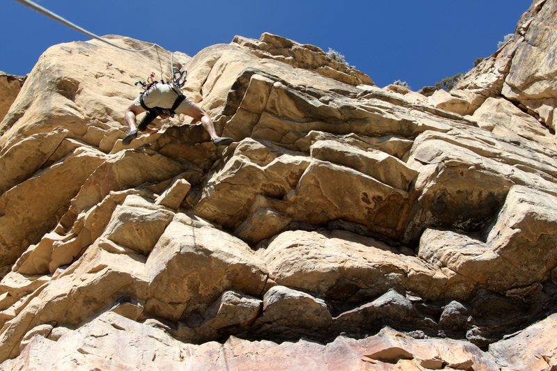 Rock Climbing Photo: J.Weingast pulling the roof moves to access the ch...