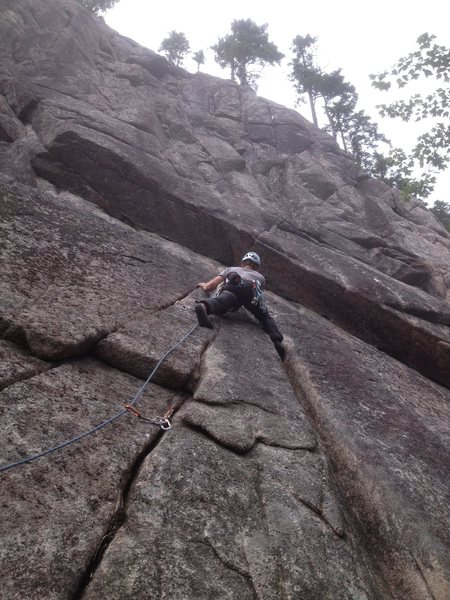 Mike Parker on the first ascent of Combat Math.