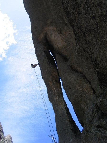 Rock Climbing Photo: My wife rapping off Holey Terror